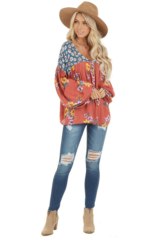 Rust Floral Print V Neck Top with Long Balloon Sleeves front full body