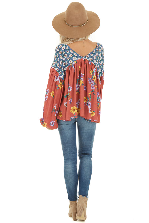 Rust Floral Print V Neck Top with Long Balloon Sleeves back full body