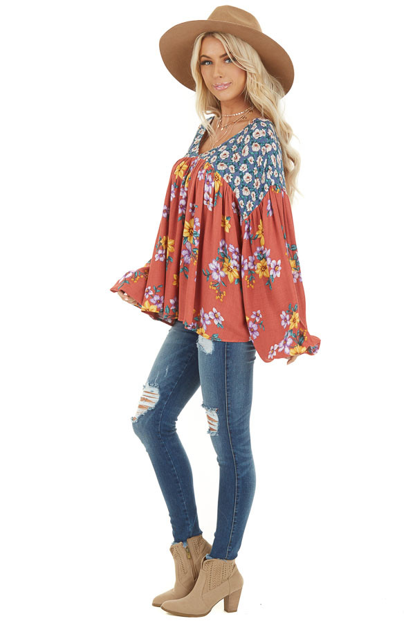 Rust Floral Print V Neck Top with Long Balloon Sleeves side full body