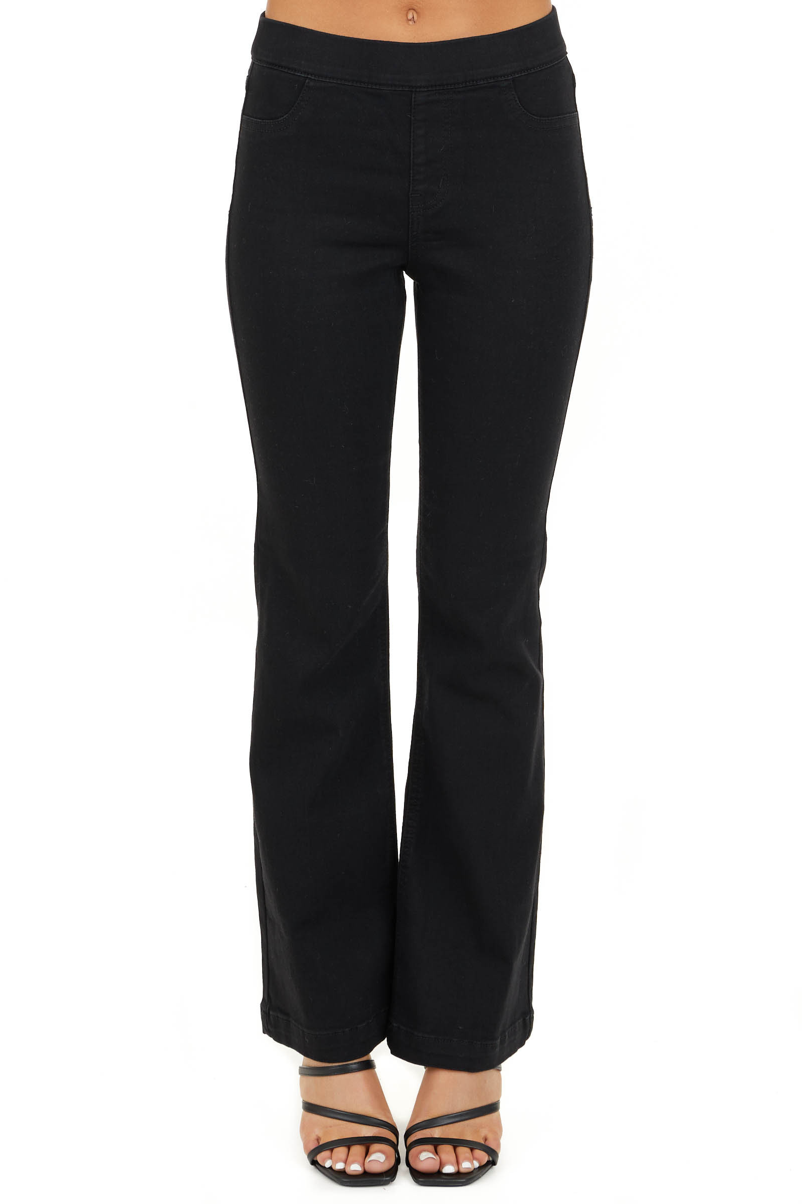 Black Solid Denim Flare Jeggings with Elastic Waistband front view
