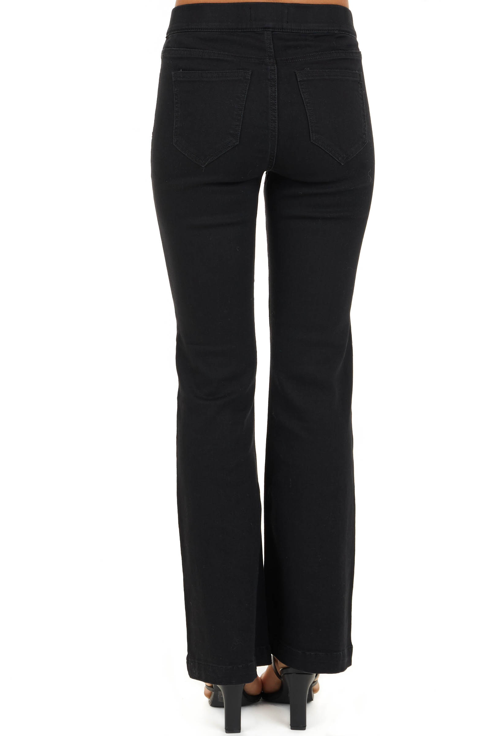 Black Solid Denim Flare Jeggings with Elastic Waistband back view