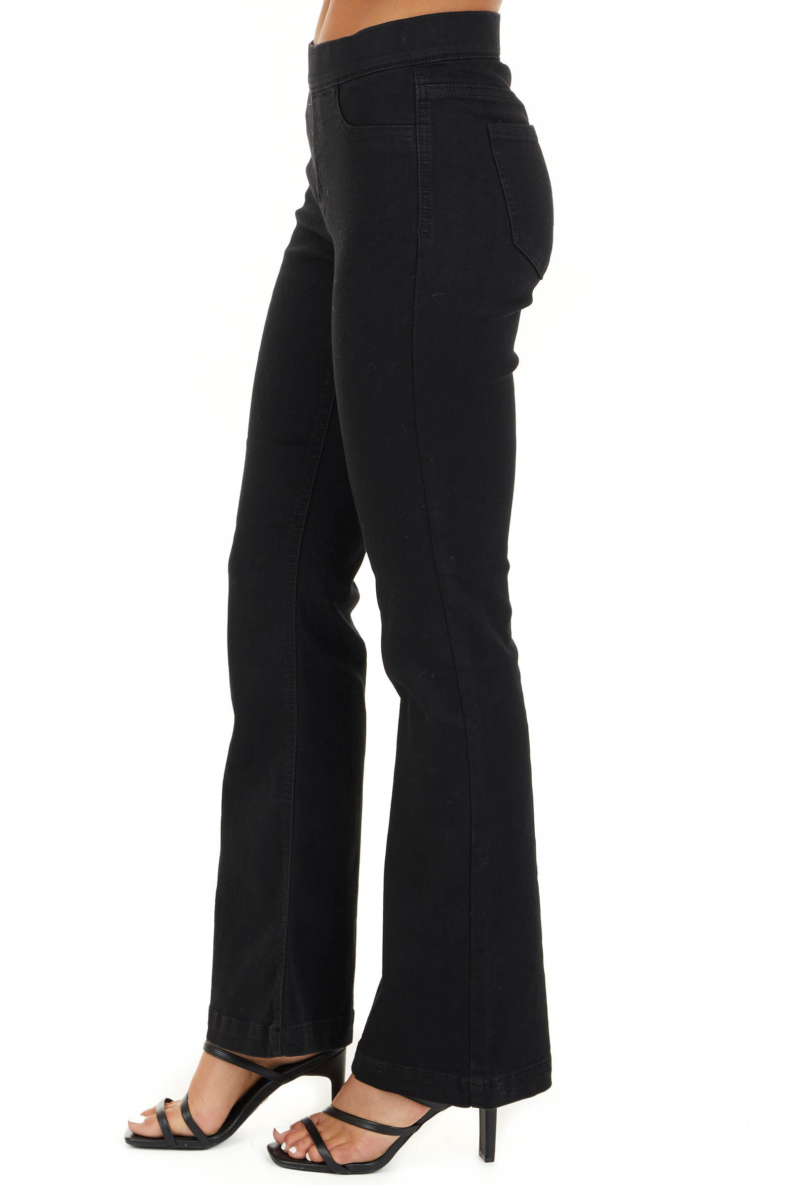 Black Solid Denim Flare Jeggings with Elastic Waistband side view