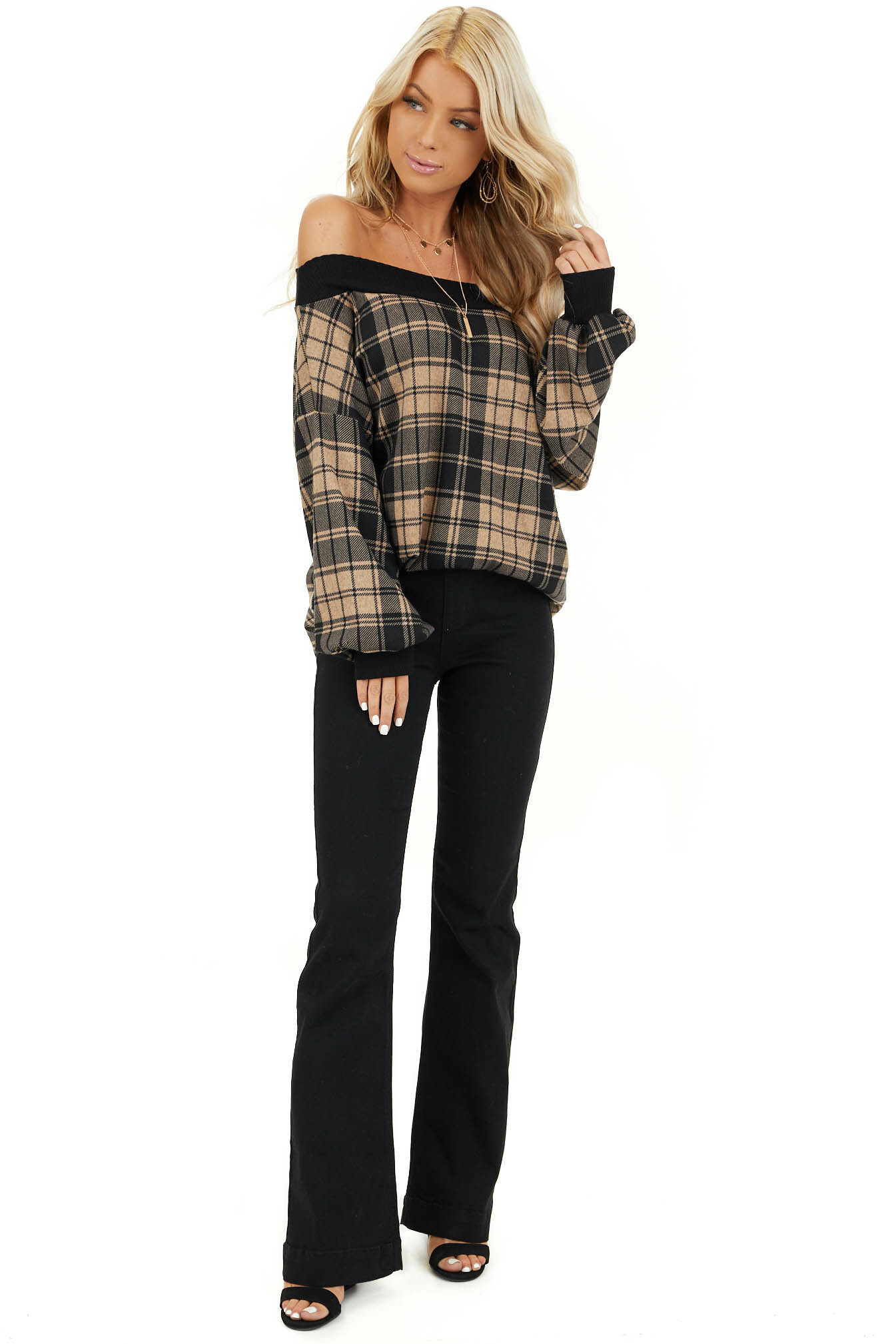 Black Solid Denim Flare Jeggings with Elastic Waistband front full body