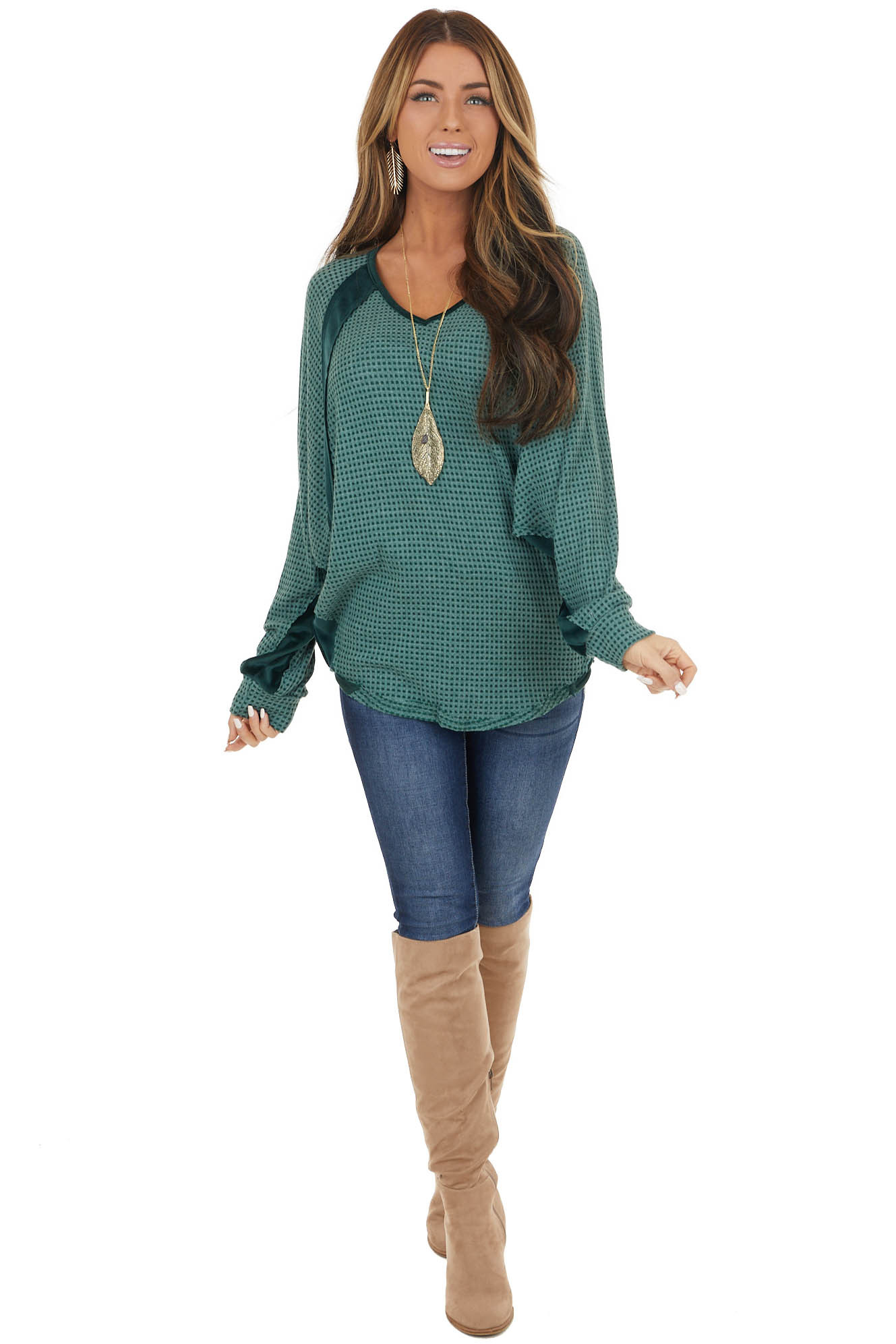 Hunter Green Waffle Knit Loose Fit Top with Velvet Details