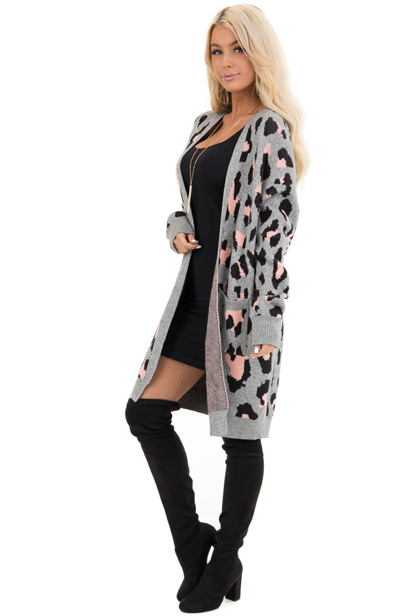 Grey and Pink Leopard Print Open Front Cardigan with Pockets side full body