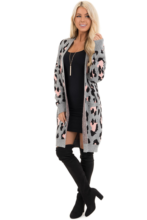 Grey and Pink Leopard Print Open Front Cardigan with Pockets front full body