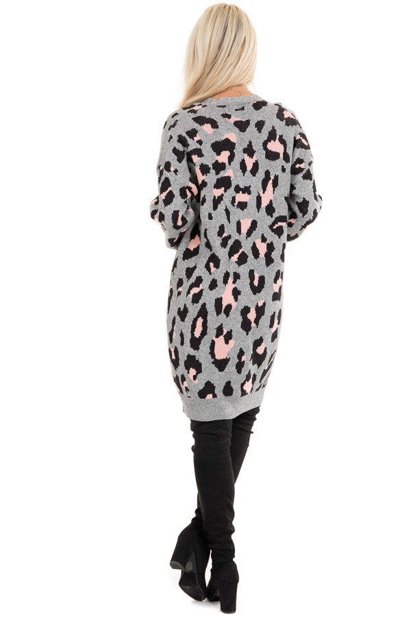 Grey and Pink Leopard Print Open Front Cardigan with Pockets back full body