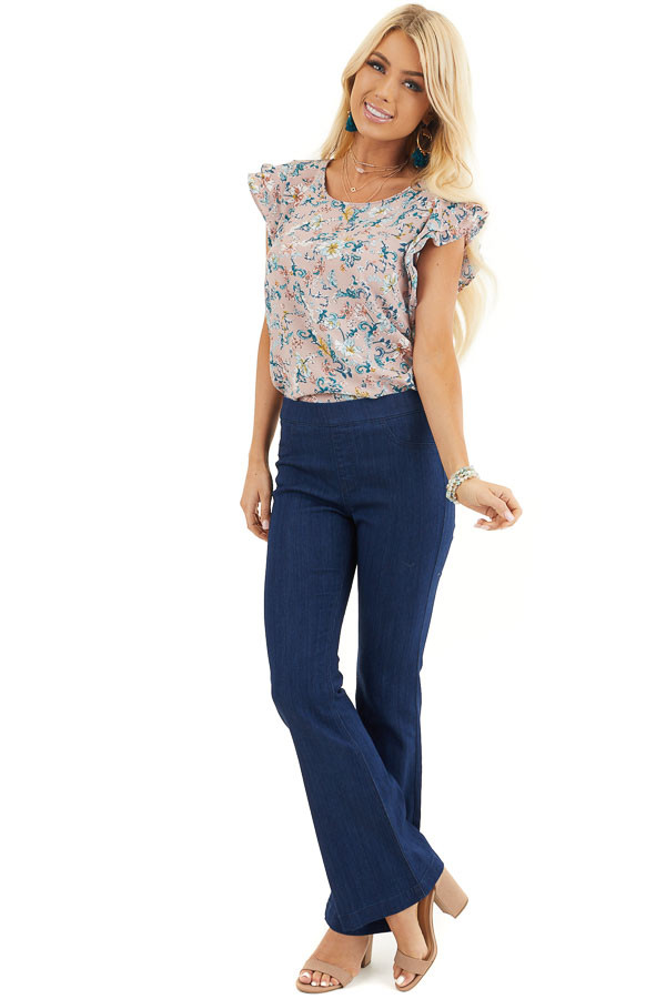 Deep Blue Denim Flare Jeggings with Elastic Waistband front full body