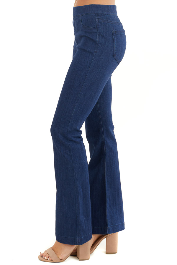 Deep Blue Denim Flare Jeggings with Elastic Waistband side view