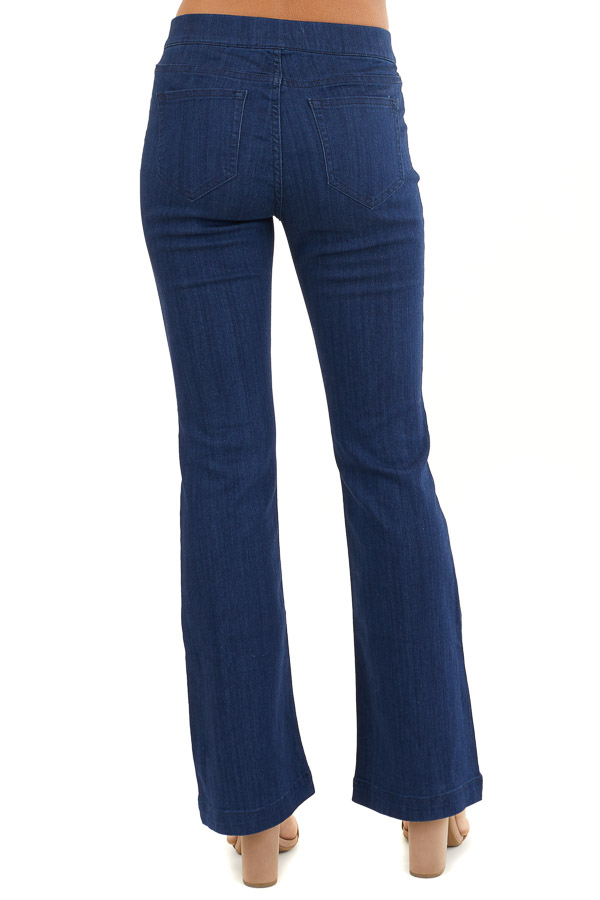 Deep Blue Denim Flare Jeggings with Elastic Waistband back view