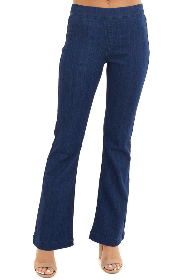 Deep Blue Denim Flare Jeggings with Elastic Waistband front view