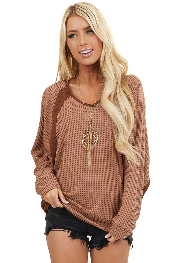 Soft Chocolate Waffle Knit Loose Fit Top with V Neckline