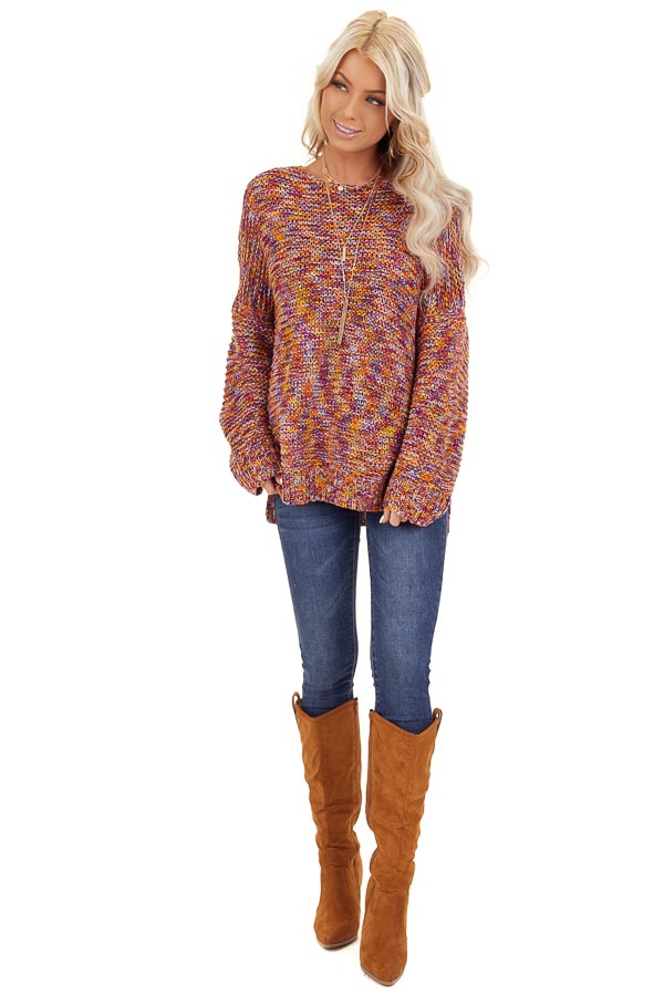 Bright Tangerine and Violet Multicolor Knit Sweater front full body