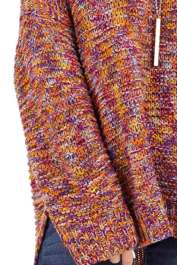Bright Tangerine and Violet Multicolor Knit Sweater detail
