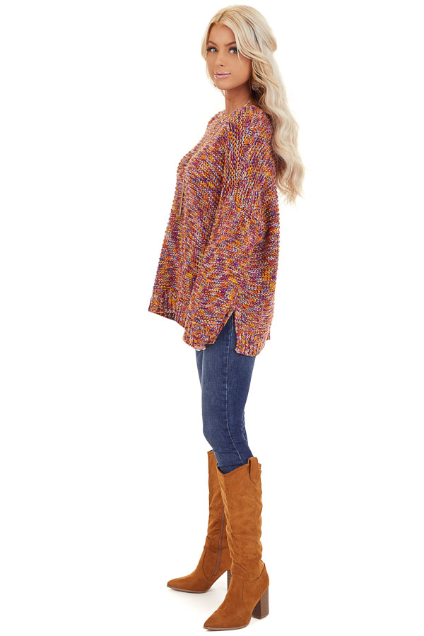 Bright Tangerine and Violet Multicolor Knit Sweater side full body