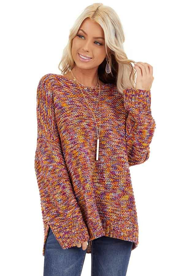 Bright Tangerine and Violet Multicolor Knit Sweater front close up