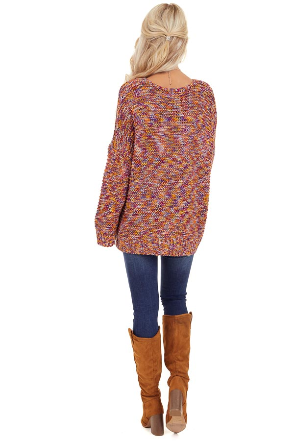 Bright Tangerine and Violet Multicolor Knit Sweater back full body