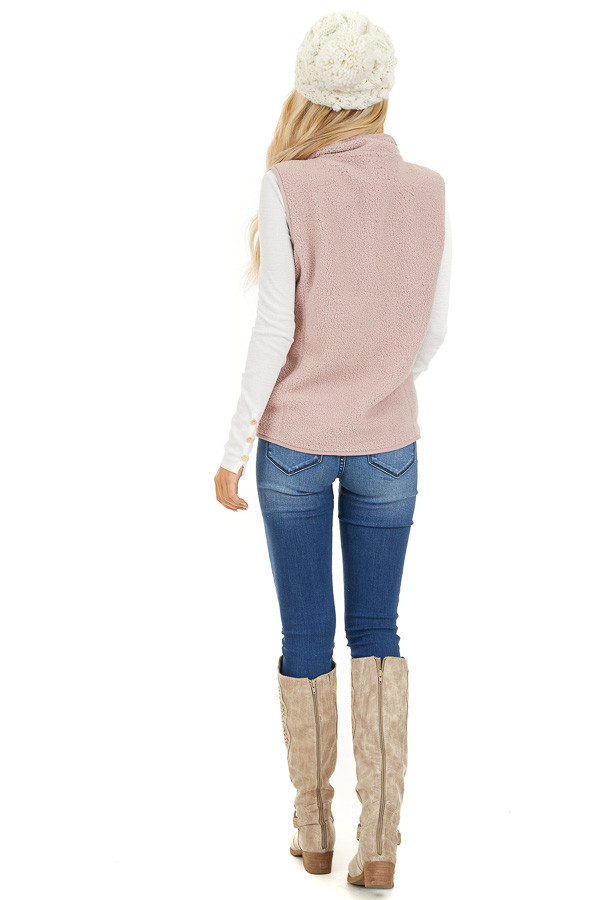 Blush Pink Sherpa Vest with Pockets and Collar back full body