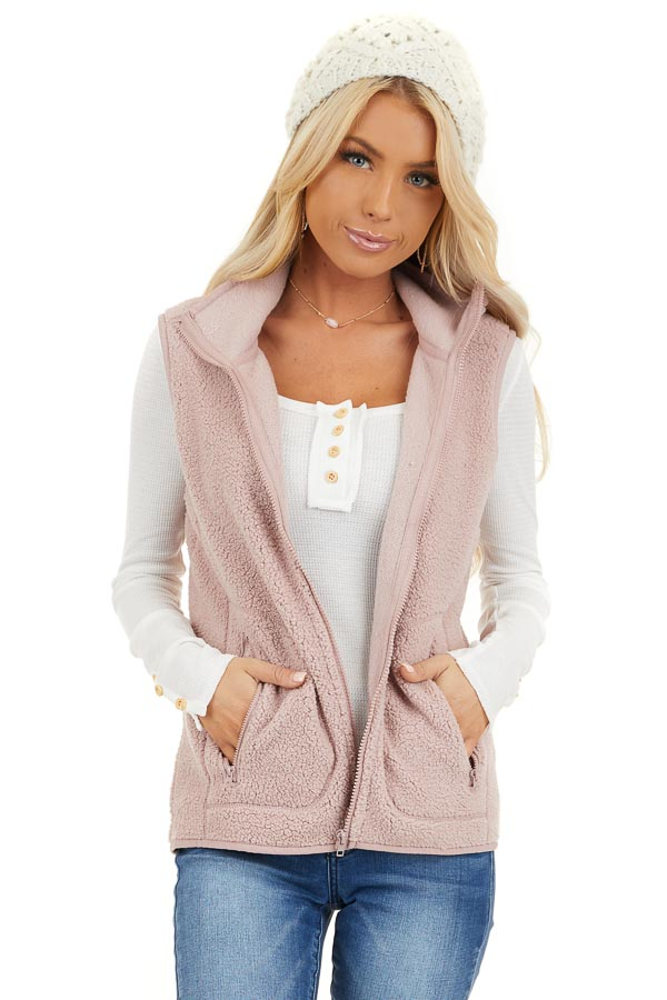 Blush Pink Sherpa Vest with Pockets and Collar front close up