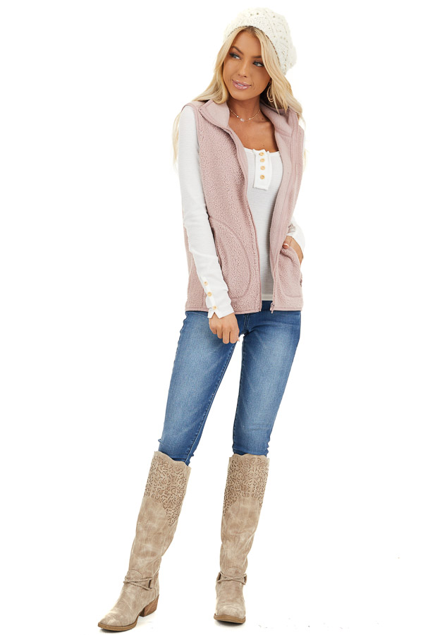 Blush Pink Sherpa Vest with Pockets and Collar front full body