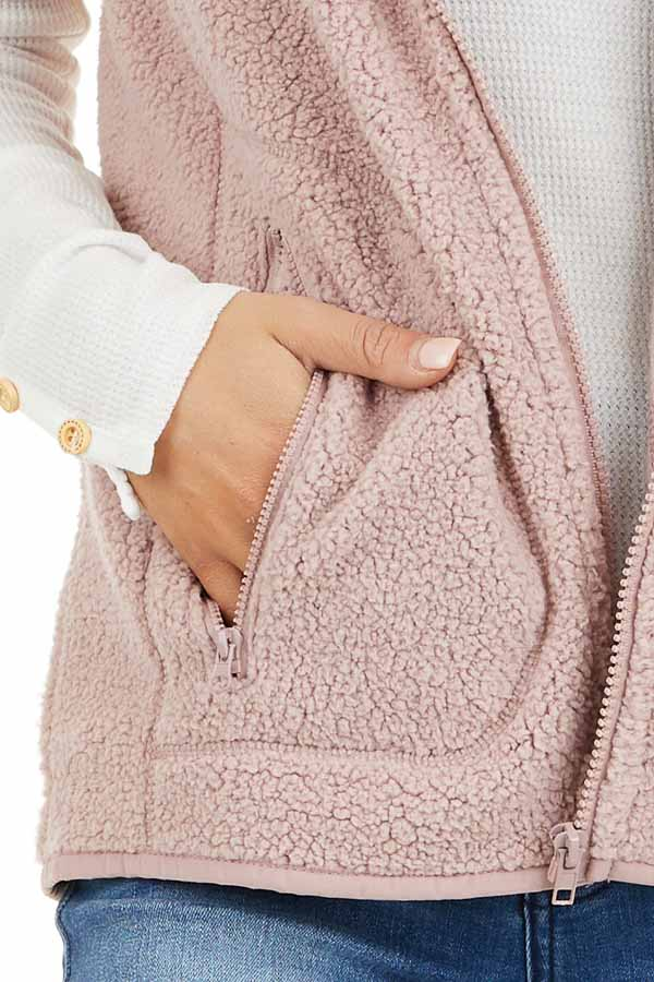 Blush Pink Sherpa Vest with Pockets and Collar detail