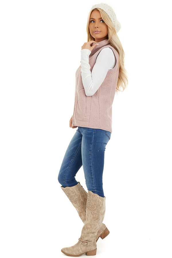 Blush Pink Sherpa Vest with Pockets and Collar side full body