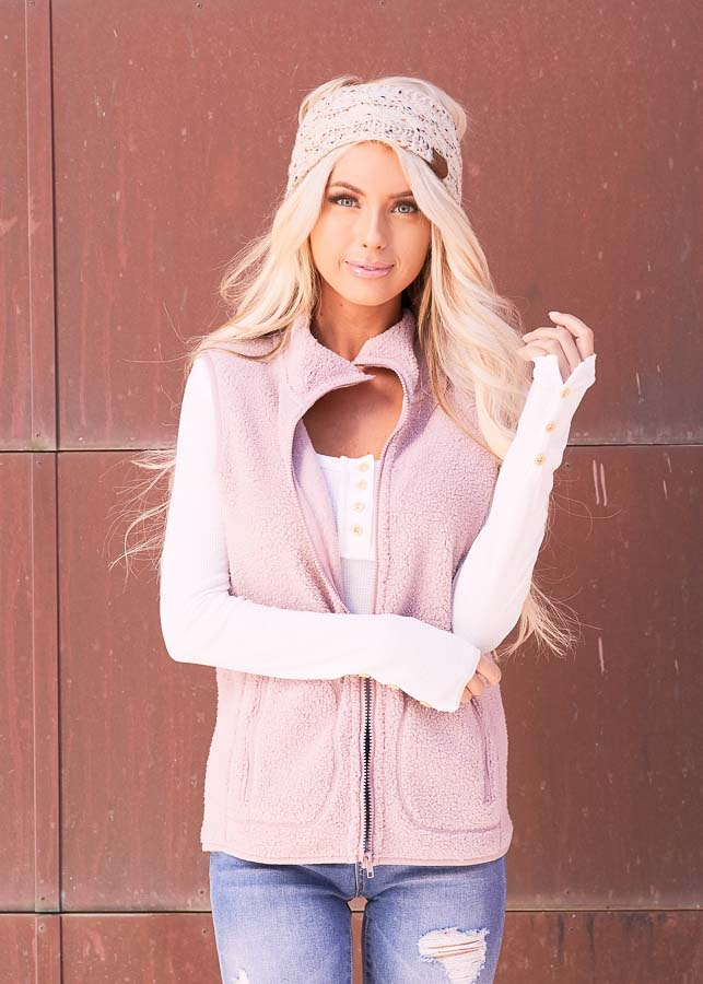 Blush Pink Sherpa Vest with Pockets and Collar
