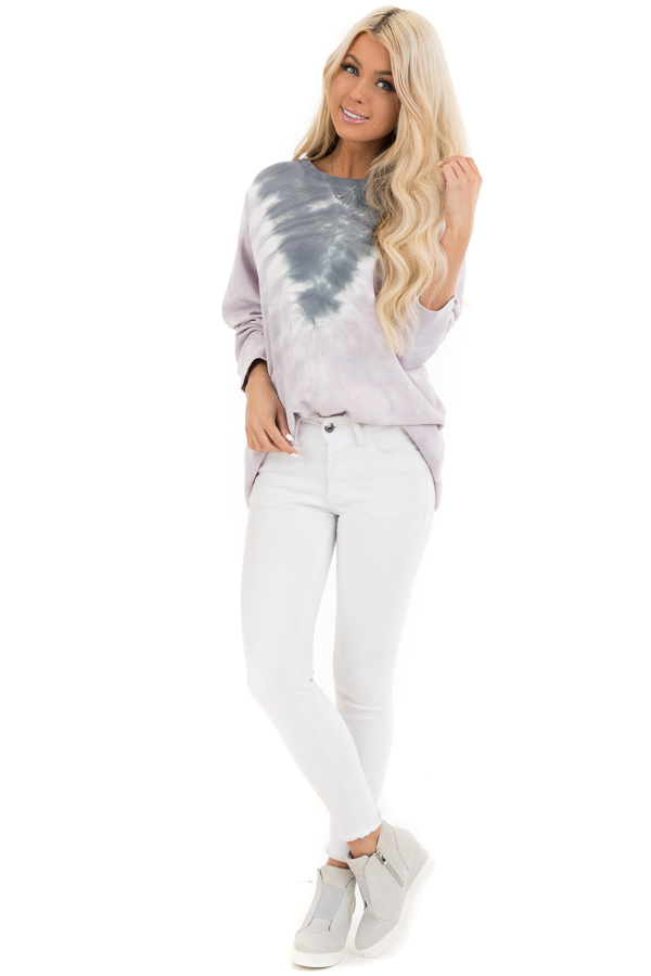 Lilac and Stormy Grey Tie Dye Pullover Top with Long Sleeves front full body