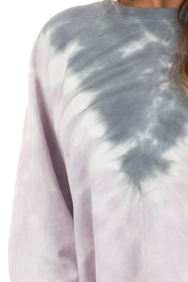 Lilac and Stormy Grey Tie Dye Pullover Top with Long Sleeves detail