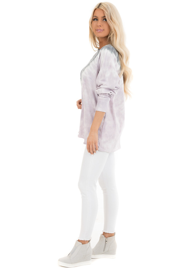 Lilac and Stormy Grey Tie Dye Pullover Top with Long Sleeves side full body