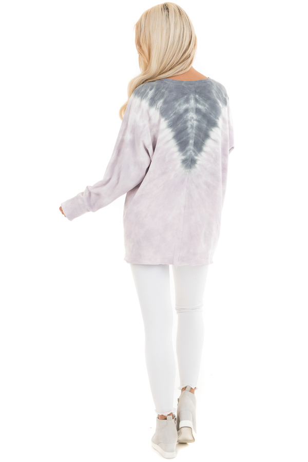 Lilac and Stormy Grey Tie Dye Pullover Top with Long Sleeves back full body