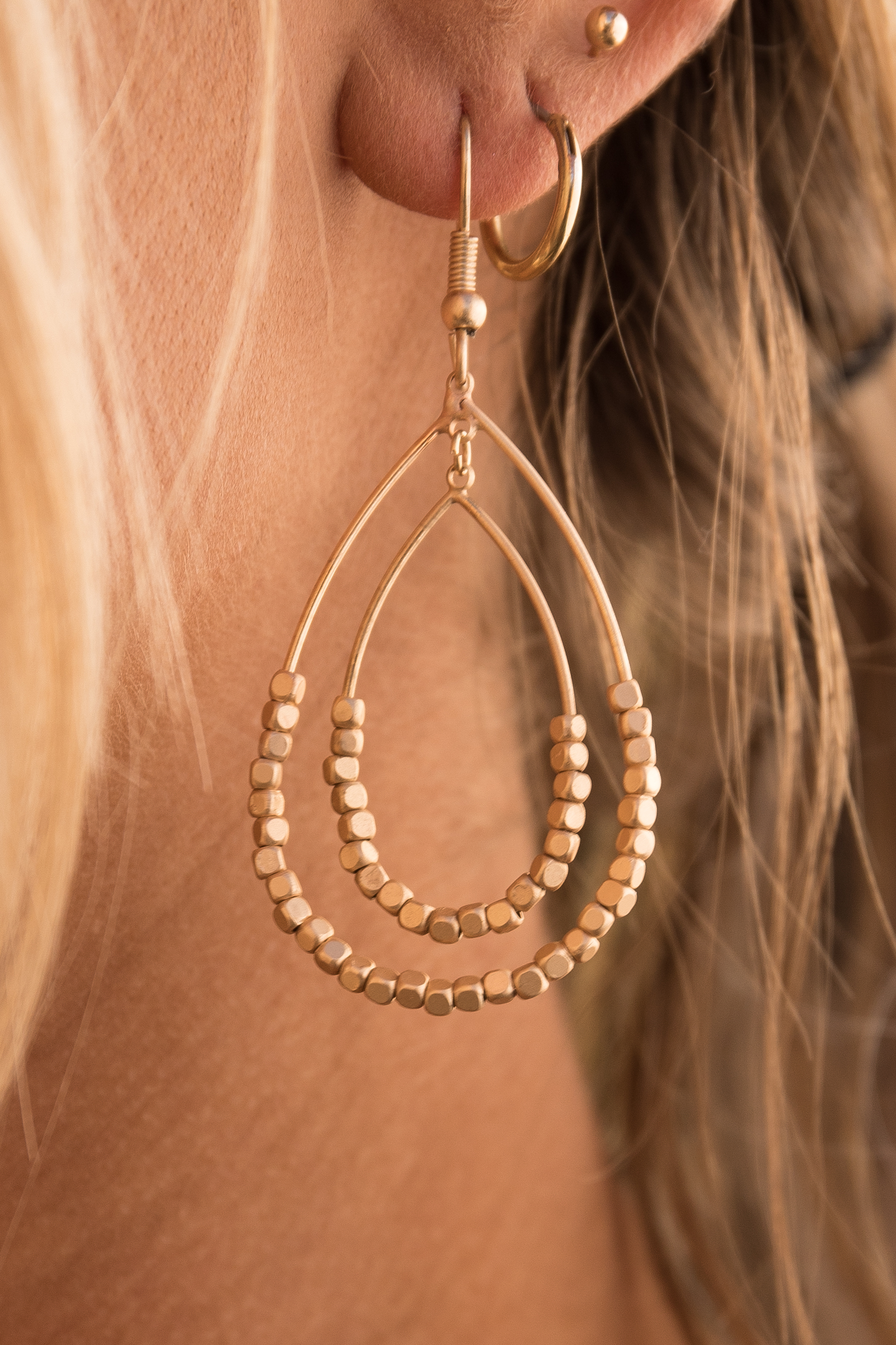 Gold Double Teardrop Dangle Earrings with Beaded Details