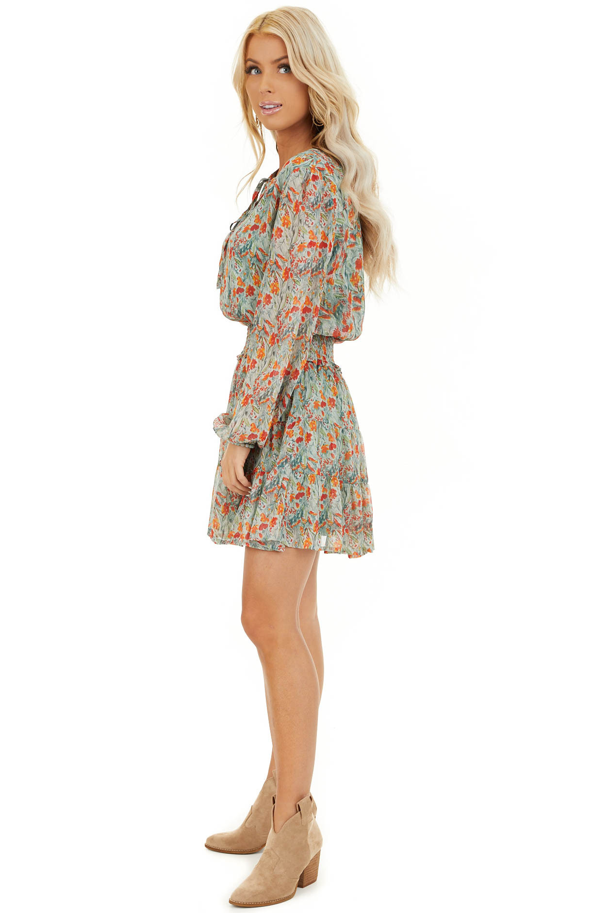 Mint and Tangerine Floral Print Dress with Smocked Waist side full body