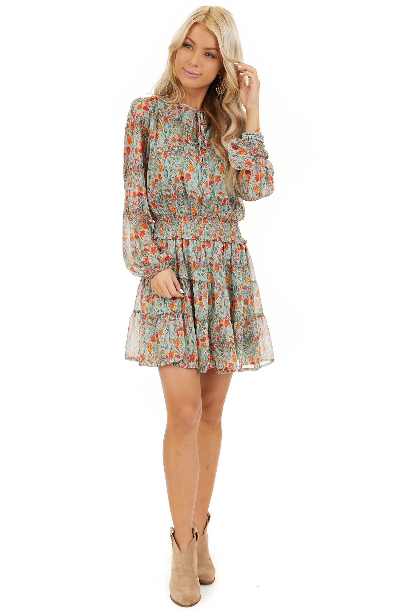 Mint and Tangerine Floral Print Dress with Smocked Waist front full body