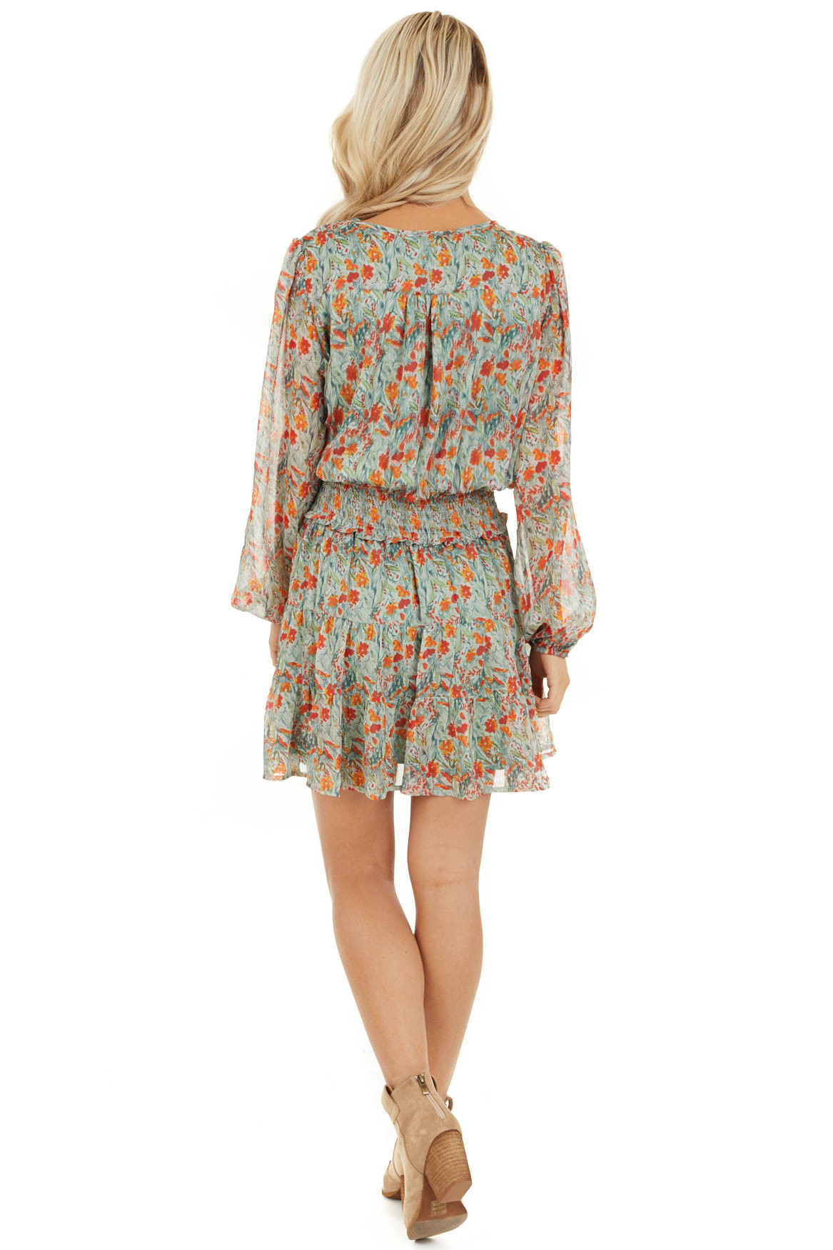 Mint and Tangerine Floral Print Dress with Smocked Waist back full body