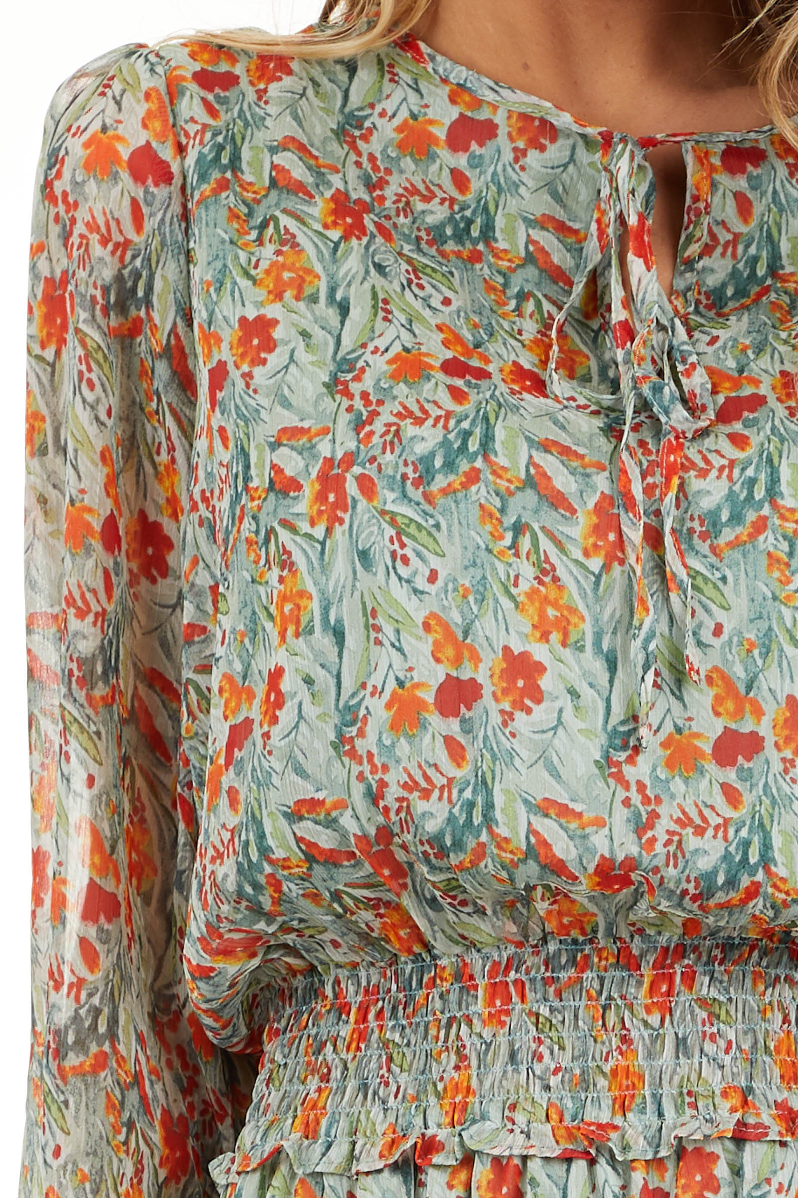 Mint and Tangerine Floral Print Dress with Smocked Waist detail