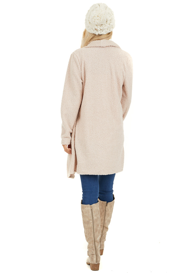 Cream Long Sleeve Draped Open Front Cardigan with Pockets back full body