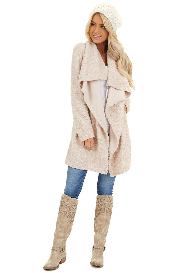 Cream Long Sleeve Draped Open Front Cardigan with Pockets front full body