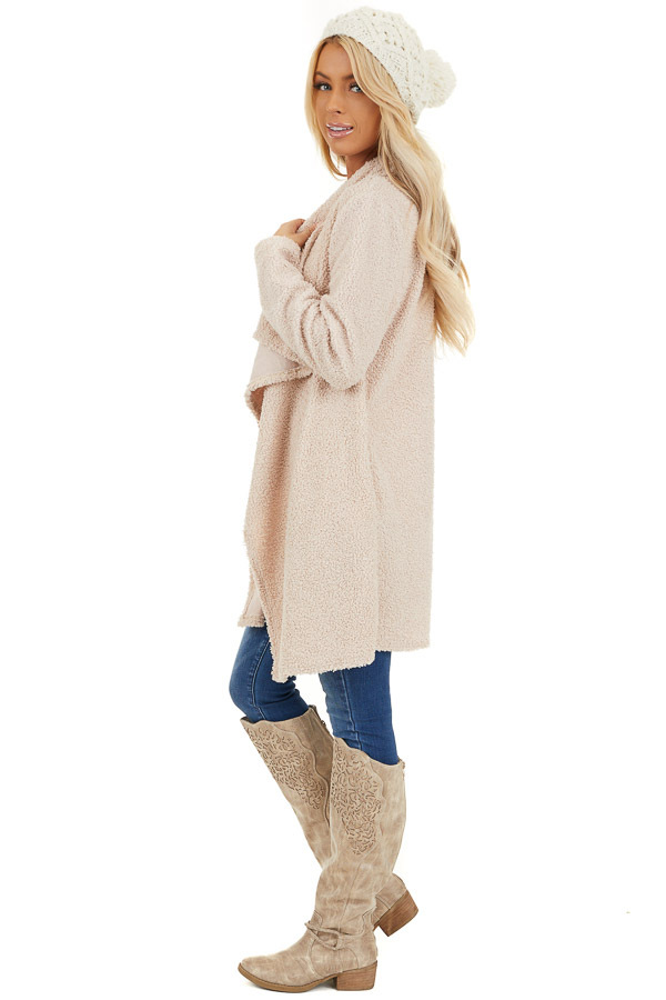 Cream Long Sleeve Draped Open Front Cardigan with Pockets side full body