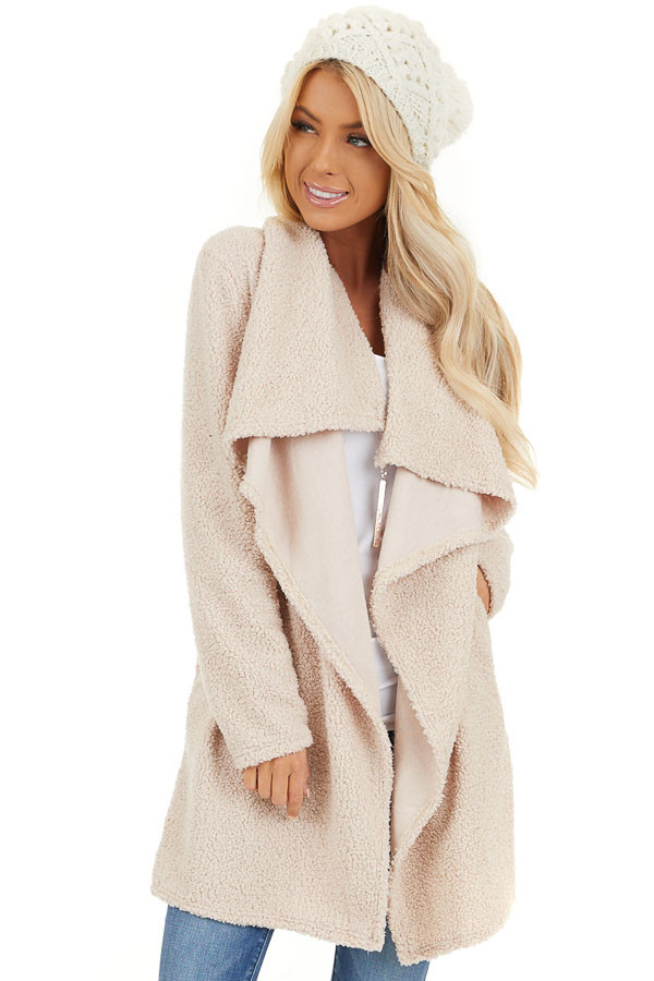 Cream Long Sleeve Draped Open Front Cardigan with Pockets front close up