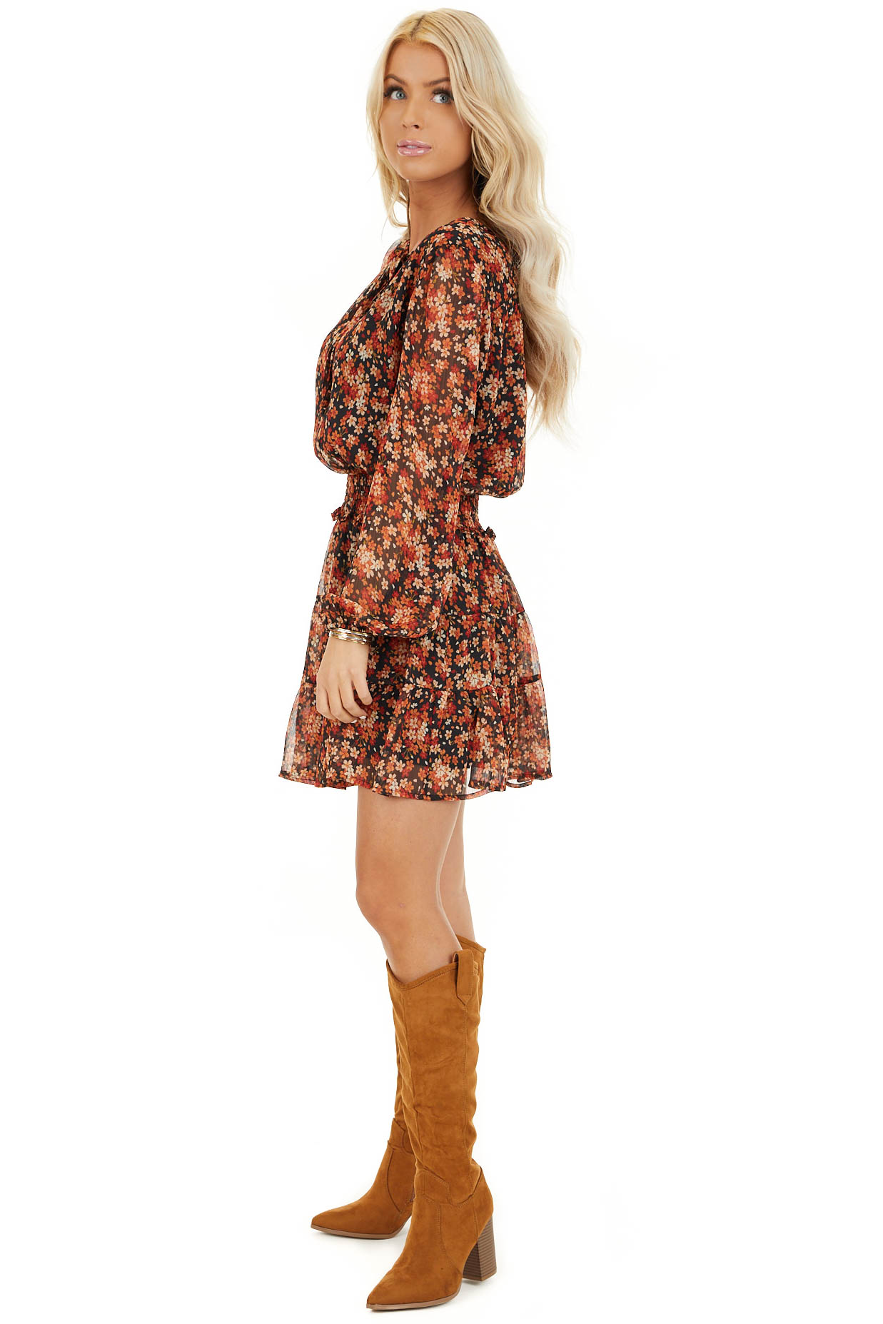 Tawny and Black Floral Print Dress with Smocked Waist side full body