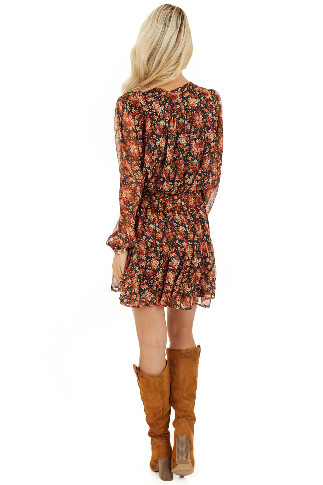 Tawny and Black Floral Print Dress with Smocked Waist back full body