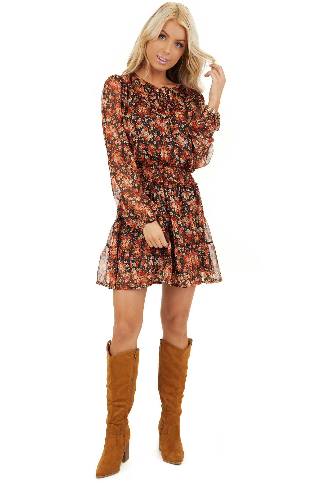 Tawny and Black Floral Print Dress with Smocked Waist front full body