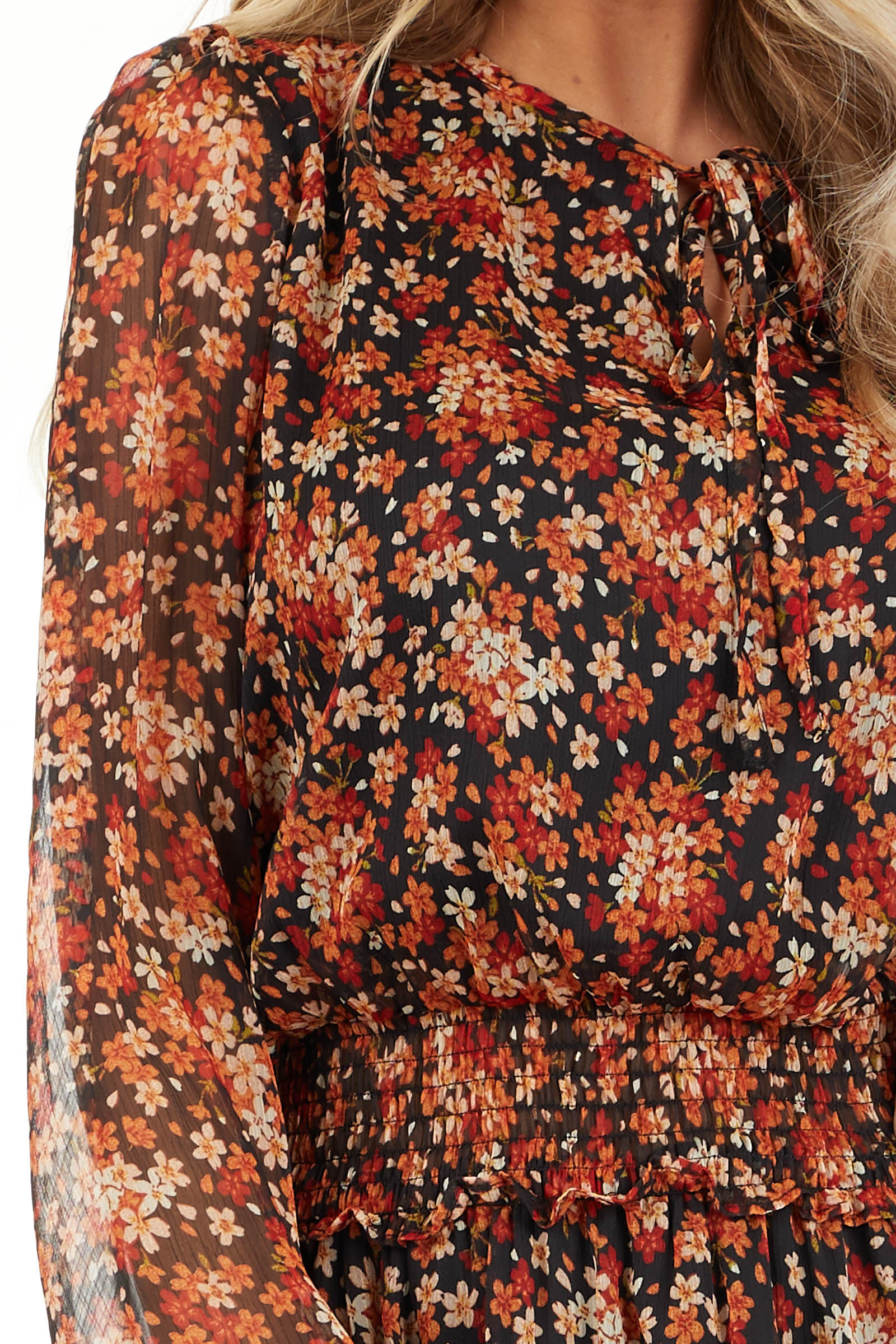 Tawny and Black Floral Print Dress with Smocked Waist detail