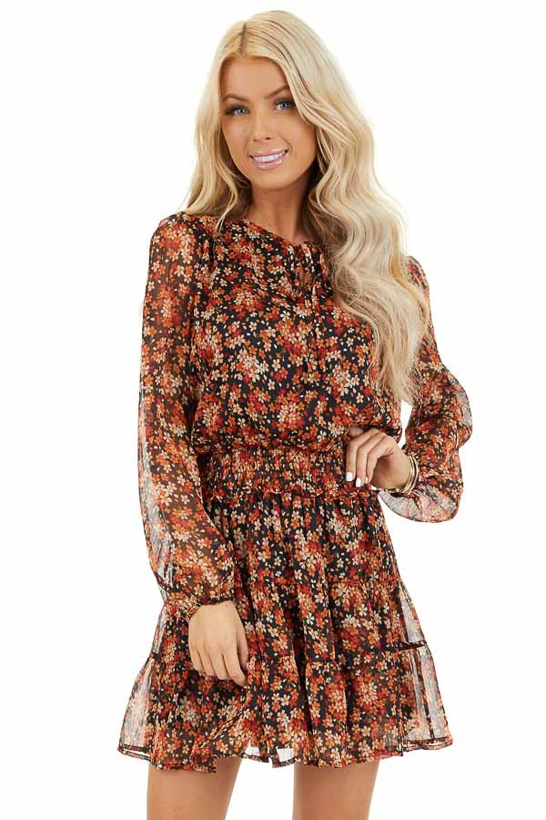 Tawny and Black Floral Print Dress with Smocked Waist front close up