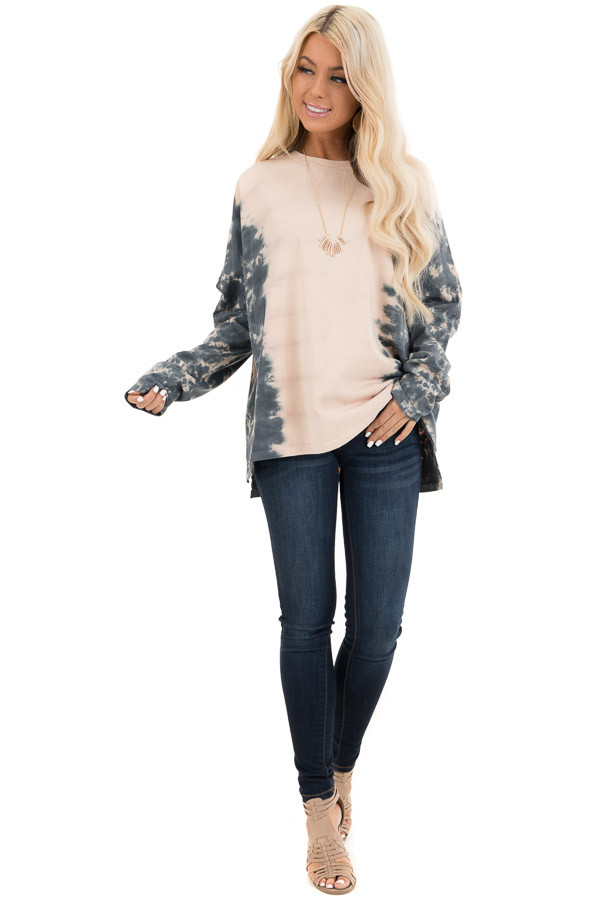 Blush and Ocean Blue Tie Dye Long Sleeve Top front full body