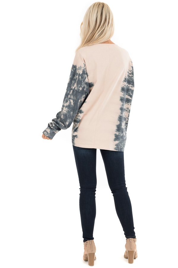 Blush and Ocean Blue Tie Dye Long Sleeve Top back full body
