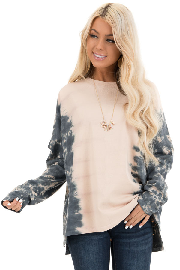 Blush and Ocean Blue Tie Dye Long Sleeve Top front close up