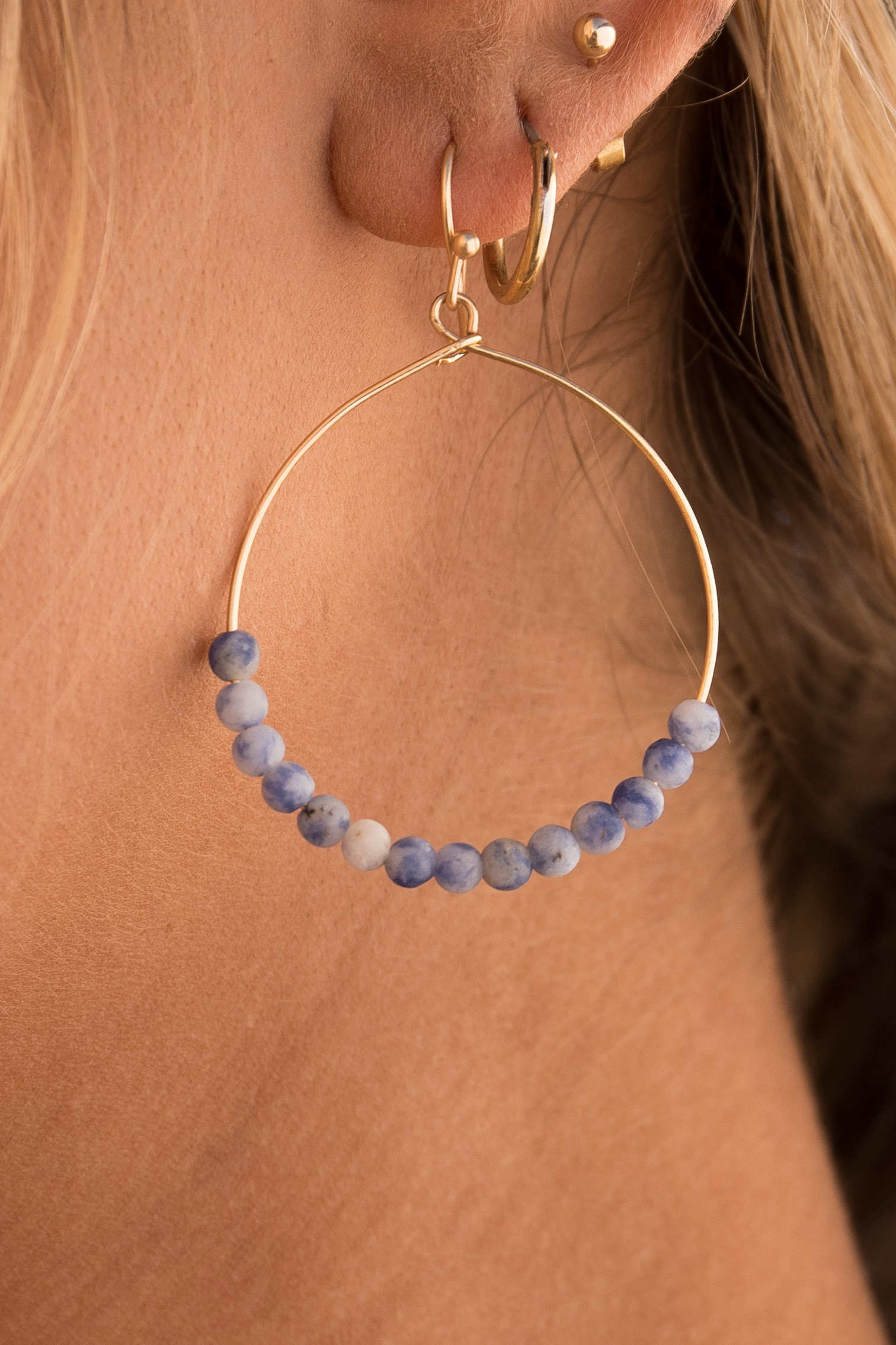 Gold Hoop Earrings with Violet and Ivory Beaded Details