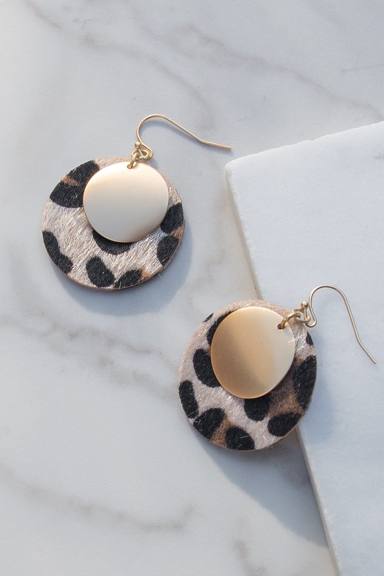 Champagne Round Animal Print Earrings with Gold Coin Detail